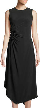 Neiman Marcus Sleeveless Ruched-Side Maxi Dress