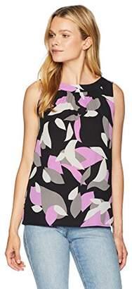 Nine West Women's Sleeveless Printed Jewel Neck Pleat Front Blouse