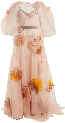 Aurorah floral-embroidered silk dress