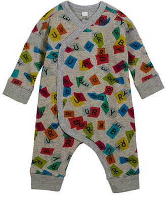 Burberry Confetti Logo-Print Coverall w/ Asymmetric Snap Front, Size 3-18 Months