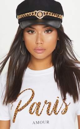 PrettyLittleThing Black Gold Chain Baker Boy Hat