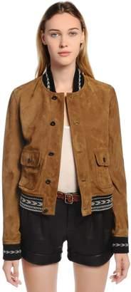 Saint Laurent Ikat Trim Suede Leather Jacket