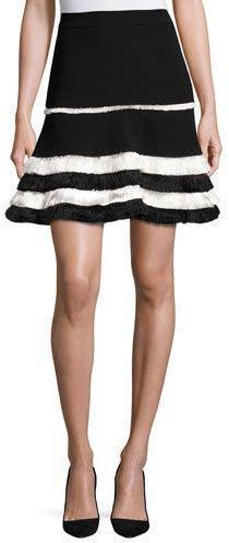 AlexisAlexis Tanya Tiered-Fringe Mini Skirt