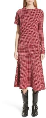 Calvin Klein Tartan Asymmetrical Dress
