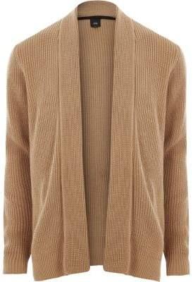 River Island Light brown open front rib knit cardigan
