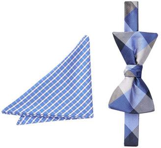 BROLETTO Stephan Check Silk Bow Tie & Pocket Square Set $19.97 thestylecure.com