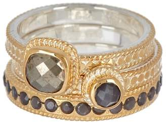 Anna Beck 18K Gold Plated Grey Sapphire & Pyrite Stacked Ring Set