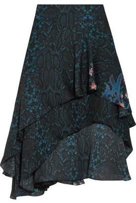 Preen by Thornton Bregazzi Ambrosse Asymmetric Printed Silk-Chiffon Skirt