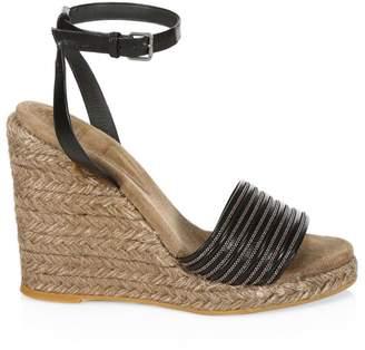 c5d1d9dec3b1 Brunello Cucinelli Leather Ankle-Strap Wedge Espadrilles