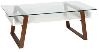 Poly and Bark Segovia Glass Top Coffee Table in Walnut