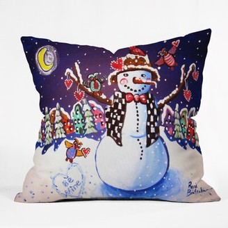 East Urban Home Happy Snowman Indoor/Outdoor Throw Pillow East Urban Home