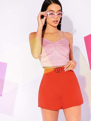 Shein High Waist Double O-ring Belt Pocket Side Shorts