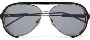 Sacai + Linda Farrow Aviator-Style Acetate And Metal Sunglasses