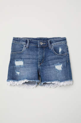 H&M Lace-trimmed Denim Shorts - Blue