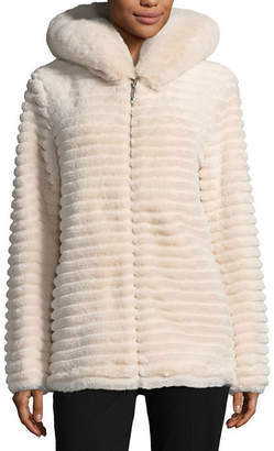 Liz Claiborne Hooded Heavyweight Faux Fur Coat