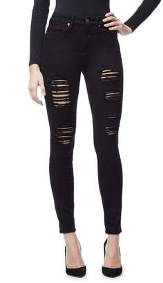 Ga Sale Good Legs Black Ripped Skinny Jeans