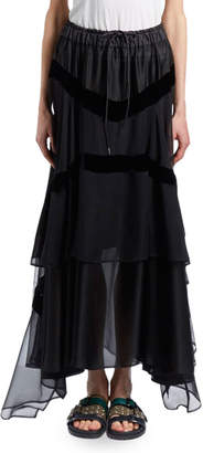 Sacai Satin Chiffon Combo Boho Maxi Skirt w/ Drawstring Waist