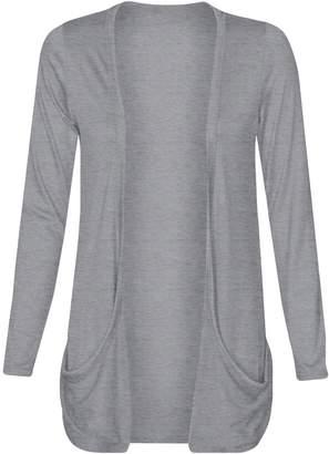 Fashion Wardrobe Womens Long Sleeves Drop Pocket Boyfriend Cardigan Ladies Open Casual Tops 8-14 (USA 6-8/UK 6-10 (S/M), )