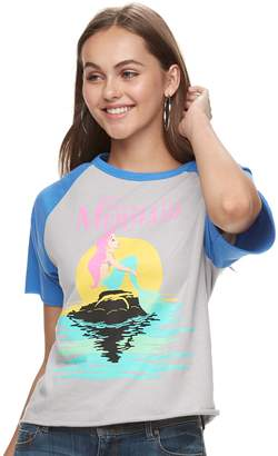 Disney's The Little Mermaid Juniors' Ariel Raglan Crop Tee