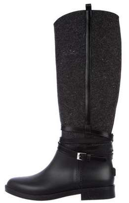 Salvatore Ferragamo Rubber Knee-High Boots