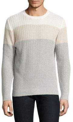 Eleventy Colorblock Cotton & Linen Rib-Knit Sweater