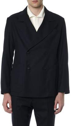 Mixed Wool Double Breasted Dark Blue Blazer