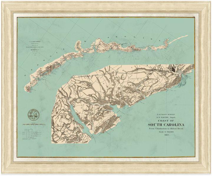 Framed Coast of South Carolina Map Wall Décor