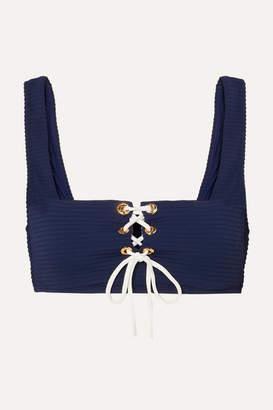 Heidi Klein Carlisle Bay Lace-up Ribbed Underwired Bikini Top - Navy