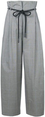 Off-White checked high-rise wide trousers