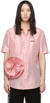 Miu Miu Pink Taffeta Rose Shirt
