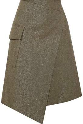 Brunello Cucinelli Wrap-Effect Metallic Cotton-Blend Twill Skirt