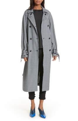 Tibi Gingham Suiting Trench Coat