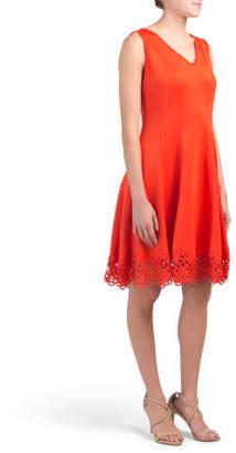 V Neck Crochet Trim Fit And Flare Dress