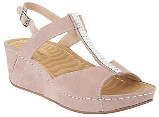 David Tate Leather Wedge Sandals - Bubbly