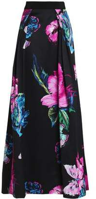 Milly Pleated Floral-Print Duchesse-Satin Maxi Skirt