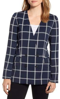 J.Crew J. Crew French Girl Windowpane Crepe Blazer