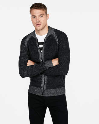 Express Marled Zip Front Cardigan