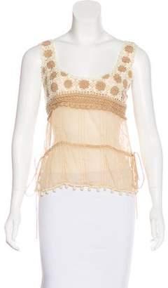 Blumarine Silk Crochet-Accented Top