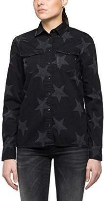 Replay Women's's W2922 .000.560142l Blouse Black W. Print Stars, Small
