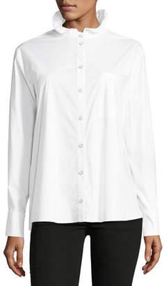 Saloni Mika Stand-Collar Button-Front Poplin Shirt