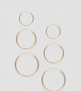Asos DESIGN rose gold plated sterling silver pack of 3 hoop earrings
