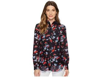 Lauren Ralph Lauren Floral Crinkled Silk-Blend Blouse Women's Blouse
