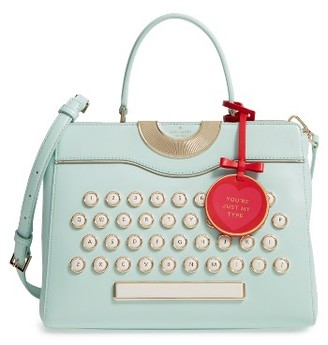 Kate Spade New York Be Mine - Typewriter Leather Satchel - Blue $548 thestylecure.com