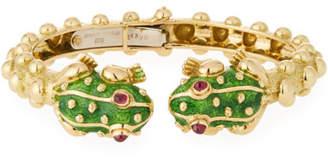 David Webb 18k Gold Baby Frog Cuff Bracelet in Green Enamel