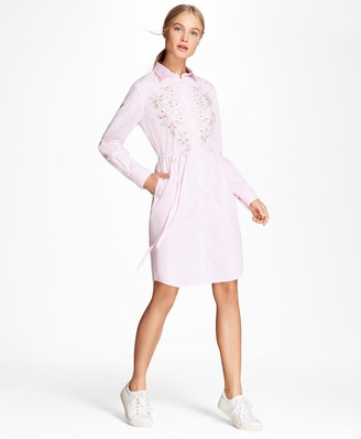 Brooks Brothers Floral-Embroidered Striped Cotton Poplin Shirt Dress