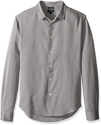 Armani Jeans Men's Heathered Long Sleeve Button Down Shirt