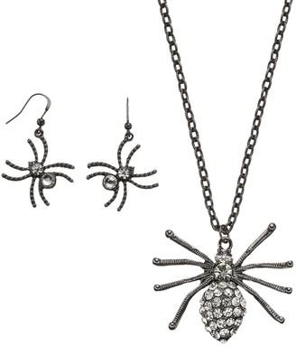 Halloween Spider Pendant Necklace & Earring Set