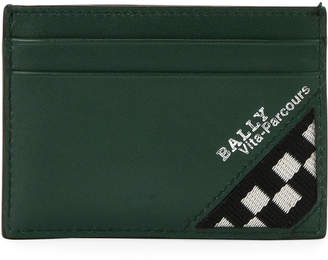 Bally Men's Bhar Leather Card Case with Racing Check, Dark Green