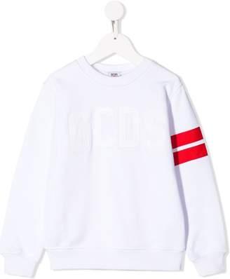 Gcds Kids striped sleeve sweatshirt