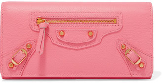 Balenciaga - Classic Money Textured-leather Wallet - Pink $575 thestylecure.com